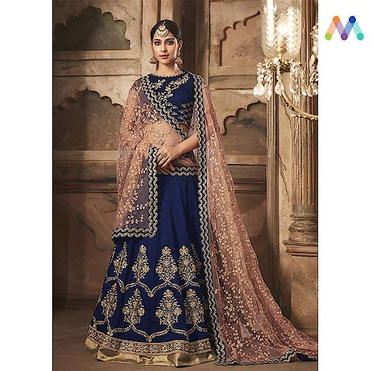 Sway into your happily ever after in this classy #navyblue lehenga set available @ https://goo.gl/h1whLX  Apply Code EOSS10 to get extra 10% Discount on all orders above $99 and 15% discount on all orders above $199 using code EOSS15 PRICE : INR 7200  $106 USD... See more