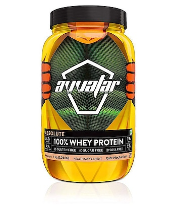 Avvatar Absolute 100% Whey Protein - (Cafe Mocha Swirl) 1 kg  Avvatar absolute 100 percentage whey protein is packed with 24g protein per scoop. Primary source is whey protein concentrate which is loaded with health boosting natural bioactive compounds along with phospholipids for quick recovery and sustained results. It is loaded with 7.8g bcaa and 7.9g eaa for lean muscle growth and faster recovery, 4.9g glutamic acid enables proper functioning of the muscle cells, minus the sugar, gluten and soy. Avvatar is the purest whey you'll ever consume.  https://www.snapdeal.com/product/avvatar-absolute-100-whey-protein/669614336470