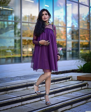 New Year Party Outfit Ideas  #newyear #newyearparty #newyearpartyoutfit #outfitinspo #outfitinspiration #styleadvice #partydress #purpledress #sheerdress #sheersleevesdress #fullsleevesdress #silverheels #slingbag #glitterslingbag #slingbag #partyoutfitinspiration
