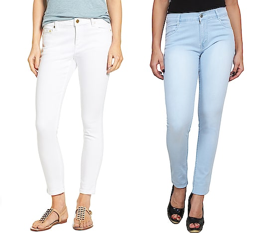 Women's Contemporary Regular Fit Denim Jeans (White & Blue) ₹1439 FREE SHIPPING Features Fit : Regular Fit Length : Ankle Length Waist Type : Mid Rise Material : Denim Pack Of : 1 Set Contents : 1 Denim Jeans Closure : Button & Zipped