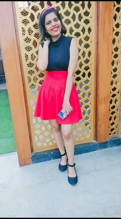 #fashion #red #black #skirt #turtleneck