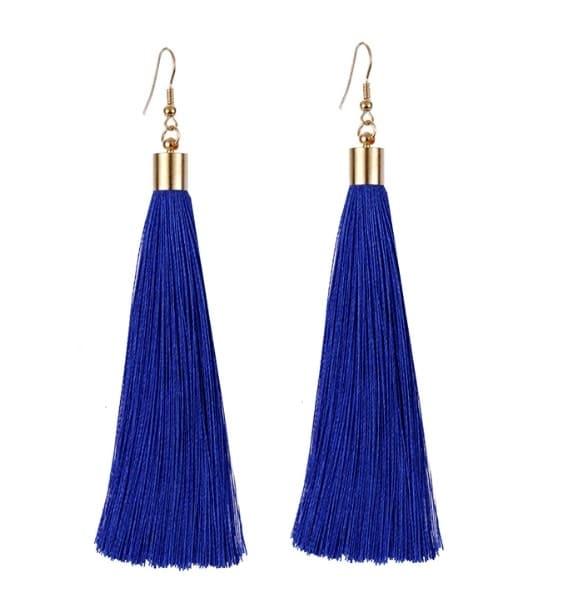 #earrings #dropearrings #tassels #tasselslove #hangings #danglers #blue-coloured #navyblue #trendeing #girls #fishhooks #goldplatedjewelry #be-fashionable #taseelearrings #longthred