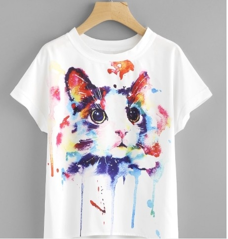 A2 Designs Painted Cat Print Tee ₹499 Free Shipping Features Sleeve : Half Sleeve Fit : Regular Fit Occasion : Casual Wear Neck Type : Round Neck Material : Cotton Pattern : Printed