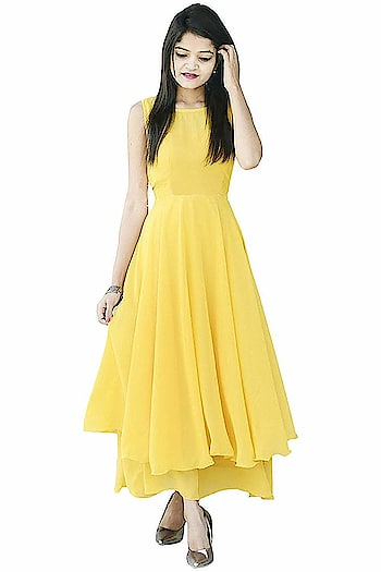 Rajkumari Georgette Yellow Double Flared Maxi Dress for Women  Here are some beautiful dresses from the house of Rajkumari Designer for purchasing just click on the image #dress #designerdress #fashionabledress #moderndress #womendress    https://www.amazon.in/dp/B07KW6Y8SD?ref=myi_title_dp