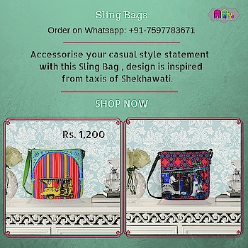 Accessorise your casual style statement with this Sling Bag , design is inspired from taxis of Shekhawati. This quirky and chick sling bag will surely jazz up your appearance. A stylish sling bag, made from high quality canvas fabrics with an adjustable strap and a zip closure is sure to fetch you oodles of compliments from your friends. Bag is having magnetic Closure button and a mobile pocket.  #slingbag #canvasbag #sikar #designerbag #onlineshopping #buyonline #fashion #handbags #designerproducts #bagslover #indiandesigner #instafashion #instastyle #bags #Womens #jaipur #streetstyle #fashionista #quirkyfashion #quirkyaccessories #slingbag