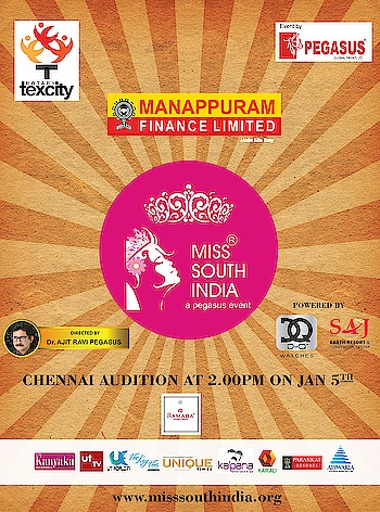 17th edition of Miss South India  Final call for the audition of Tamil Nadu on Jan 5th at Ramada Egmore... #MissSouthIndia #PegasusGlobal #DrAjitRaviPegasus #MSI #Pageant #PegasusEvent