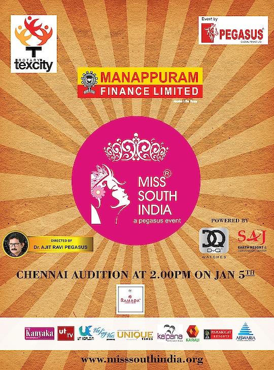 17th edition of Miss South India  Final call for the audition of Tamil Nadu on Jan 5th at Ramada Egmore... #MissSouthIndia #PegasusGlobal #DrAjitRaviPegasus #MSI #Pageant #PegasusEvent