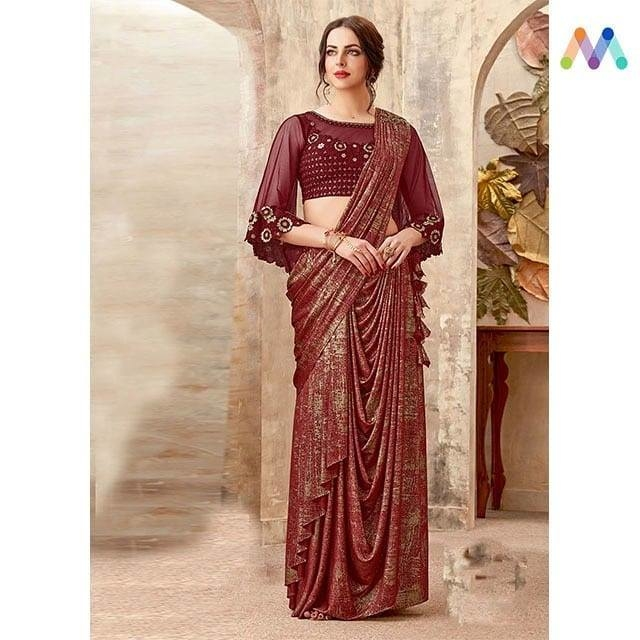 Saree styles never fail to impress. Grab this @https://goo.gl/zp6kUP  Apply Code NEWYEAR10 to get extra 10% Discount on all orders above $99 and 15% discount on all orders above $199 using code NEWYEAR15 PRICE : INR 5225 | $77USD  #newarrivals #shoponline #newyear #partywear #saree #embroidered #threadembroidered #lycra #net #newlaunch #sneakpeek #newyearsale #2k19 #indianfashion #USA #India #Canada #Australia #Dubai #UAE #Mauritius #London #Uk #shopnow