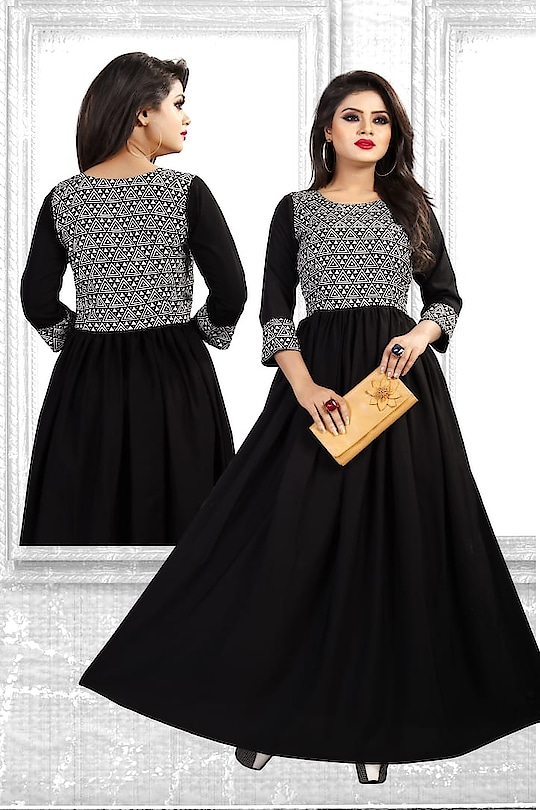 Women's Crepe Long Flared Gown (Black) ₹599 Sleeve : 3/4 Sleeve Occasion : Party Wear Work : Printed Length : Long Dupatta Length : NA Neck Type : Round Neck Type : Flared Material : Crepe