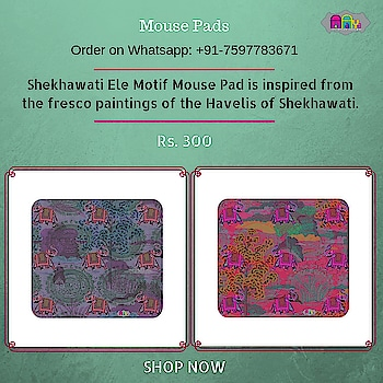 Shekhawati Ele Motif  Mouse Pad is inspired from the fresco paintings of the Havelis of Shekhawati. Camouflaged amidst the extraordinary use of colour, an army of grey elephants is lined among decorative trees. This one makes for a fab gift for those who find joy in the details.  #mousepads #sikar #designer #onlineshopping #buyonline #fashion #designerproducts  #indiandesigner #instafashion #instastyle #jaipur #streetstyle #fashionista #quirkyfashion  #quirkyaccessories #taxi #fashion  #handmade     https://www.fatfatiya.in/accessories/mouse-pads/shekhawati-ele-motif-purple-mouse-pad.html https://www.fatfatiya.in/accessories/mouse-pads/shekhawati-ele-hathi-mouse-pad-copy.html https://www.fatfatiya.in/