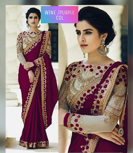 #saree :- Rangoli #silksaree with embroidery cut work less, Blouse :- Banglori with embroidery work, Sleeves:- Net with embroidery work #purplesaree   Price:- Rs 1199 + Free Shipping all over India  Order on Whats App +91 7621863000