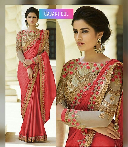 #Saree :- Rangoli #silksaree with embroidery cut work less, Blouse :- Banglori with embroidery work, Sleeves:- Net with embroidery work #gajarisaree  Price:- Rs 1199 + Free Shipping all over India  Order On Whats App +91 7621863000