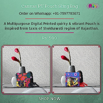 A Multipurpose Digital Printed quirky & vibrant Pouch is inspired from taxis of Shekhawati region of Rajasthan. This pouch is ideal for Kids & Womens for their stationery. This pouch comes with a zip.   #slingbag #canvasbag #sikar #designerbag #onlineshopping #buyonline #fashion #handbags #designerproducts #bagslover #indiandesigner #instafashion #instastyle #bags #Womens #jaipur #streetstyle #fashionista #quirkyfashion #quirkyaccessories #slingbag      https://www.fatfatiya.in/ https://www.fatfatiya.in/accessories/utility-pouch.html