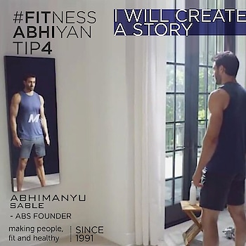 """FITNESS ABHIYAN 2019.  TIP No 4:- Look at yourself in the mirror and say """" I will create a story """"  With little effort it is only going to be better.  Yes today you might feel out of shape. overweight. Sluggish. Low in confidence.  But just stand in front of the mirror and tell your self. From today onwards"""" I am going to create a new story"""" A very slight improvement in your weight or inches is a new story.  Just a walk of 10 minutes is a new story.  Running 100 meters is a new story.  Eating small is a new story.  That feeling of well-being is going to be a new story.  People who had pointed out about your weight or your looks or your posture will talk about this new improvement you are achieving.  But this is not important at all. What is important is your feeling of well-being. It's ok ,if you are what you are right now. But just doing nothing is not good.  It's never late at all.  Just keep moving ,follow the tips and YOU are on your way to create a beautiful story.  LET 2019 be your FITTEST YEAR ever.  #fitnessabhiyan19 #newyearresolution #fit2019 #absolutelyalive #committomove"""