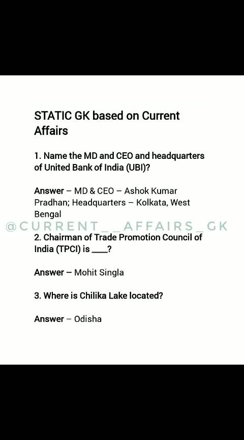 STATIC GK based on current affairs..... FOLLOW 👉  @current__affairs_gk . . Best daily Current affairs and tricks and for more daily updates . 💝........ #currentaffairs2018 #currentaffairsquiz #current #currentaffairs #gk#daliy#dailycurrentaffairs #gktricks#tricks#gknotes#questionoftheday #gkquestions #germany#ssc#popular #upsc #share#upsc#likeforlikes #afcat#railway#like#comment#anada#france#studygram##cbdtincture #motivation#news