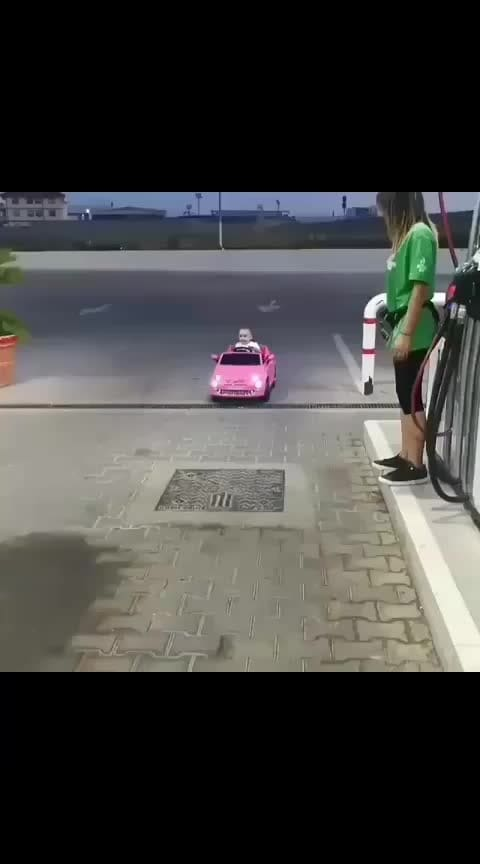 cute baby ride a car #good----morning #baby #pink #babypink #cutness #cutnessoverloaded #smile #amazing #alag #car #drive #best #petrol #air