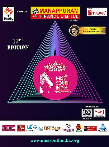 17th edition of Miss South India  #MissSouthIndia #PegasusGlobal #DrAjitRaviPegasus #MSI #Pageant #PegasusEvent #ManappuramFinanceLtd