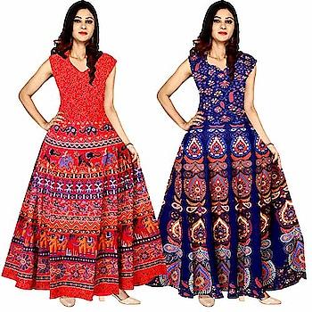 Mudrika Women Long Midi #Dress #Jaipuri Animal Print Cotton #Maxi Multicolor @ Rs.735. Buy Now at http://bit.ly/2Rh8sP3