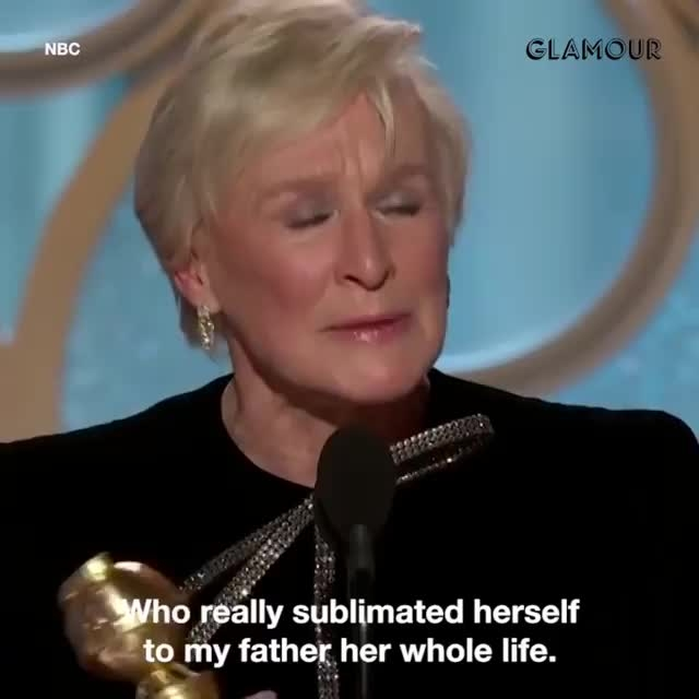 #GlennClose at the #GoldenGlobes night accepting her award with a #feminism speech.