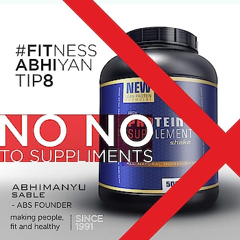 FITNESS ABHIYAN 2019.  TIP No 8 NO NO to Supplements.  Today everybody wants a quick fix. They expect results in few weeks and they believe these supplements or these medicines will help them.  Let me clarify the myth of Proteins. An average active person requires not more than 60 to 80 grams of Proteins. And this we can get through our regular Indian diet. (Yes little bit of extra lentils, dairy or other poultry will assist)  A moderately active individual definitely does not need that scoop of Protein Supplement.  Ask people who take these supplements they feel bloated most times and the only satisfaction they get is psychological.  Please stay away from fat burners and performance enhancer. People who prescribe these supplements are not at all qualified to do so.  Yes if a registered physician is subscribing supplements due to your deficiency that's fine. But still insist on natural diet.  If you are a professional athlete and a registered physician is prescribing it to you that's fine. But still some of the supplements have ingredients which are not accepted by World Health bodies and Sports organizations  Please stay away from supplements prescribed by any Fitness Trainer or a GYM. Ask them on what basis are they prescribing these supplements. What qualification they have. Are they registered professionals.  Supplements are not beneficial for a moderately active individual who has a decent eating plan. Don't get carried away to buy those expensive big boxes.  The only benefit is that those big boxes can be used at home to store grains. ( that's a very expensive storage buy)  So please don't waste your money and your health on these medicines.  Live a healthy and a natural life.  LET 2019 be your FITTEST YEAR ever.  Abhimanyu Sable  Training Since -1991  #fitnessabhiyan19 #newyearresolution #fit2019 #absolutelyalive #committomove
