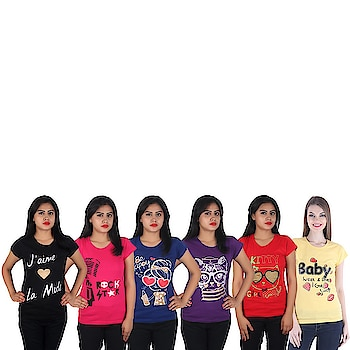 Diaz® Soft Cotton Printed Round Neck Top for Women Pack of 6 Carry a smart look to your college by slipping into this Printed Tops from DIAZ. Featuring a Round-neck, Short sleeves and a smart design, Live the moment wearing this Top with casual trousers and flip-flops as you hit the street with best buds. This Regular-fit Top is made from 100% cotton.  Care Instructions: Hand Wash In Cold Water, Dry In Shade Fit Type: Regular Fit Color: Black, Pink, Royal Blue, Purple, Red, Yellow Fabric: 100% Cotton Washing Instructions: Hand Wash In Cold Water Neck: Round Neck Sleeve: Short Sleeve  For purchasing click on this link:-  https://www.amazon.in/dp/B07MKBK4H6?ref=myi_title_dp   #top #topforgirls #girlstop #womentop