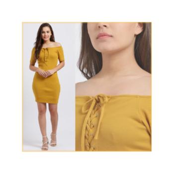 """The joy of dressing is an art."" —John Galliano #mustardlaceupoffshoulderdress . . . . #trendarrest #trending #trendyoutfits #trendfollowers #mustard #colour #offshoulder #bodycon #laceup #rib #dress #fashion #fashionworld #fashionista #fashionmodel #partywear #followforfollow #likeforlikes #instalikes #instafollows #saturdayvibes #weekend #postoftheday"