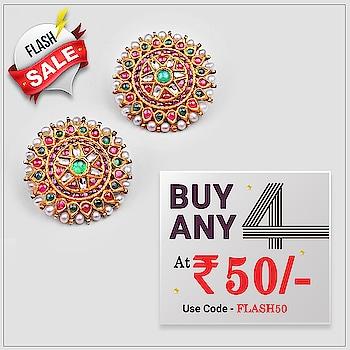 ✨ Flash SALE ✨ Buy Any 4 At Just Rs.50/- 😍  ✅ Use Code - FLASH50 Shop Jewellery Here : https://bit.ly/2QIJmmM #Jewellery #Earrings #Pendants #Sale #buyany4 #Pearl #Stud #Jewelmaze