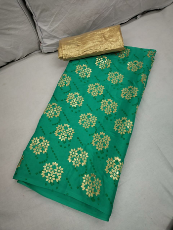 ***Carry on your Style*** Imported Silk saree with floral print with golden blouse piece Contact : 98254 42027 Price : 700/- #thebazaar #casual-clothing #nari-in-sari #reasonableprice