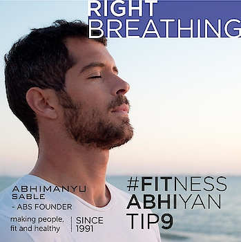 "FITNESS ABHIYAN 2019.  TIP No 9 RIGHT BREATHING  Right breathing can make you feel energised and fresh.  A wrong breathing can lead to increase in blood pressure (if you hold your breath while exercising) and also make you dizzy.  Wrong breathing also effects the performance and outcome of your exercise.  There is a very simple formula of breathing.  It's called ""EE"" (Exhale when you put Effort)  Any exercise where you put effort just exhale ( in Pushups exhale when you come up. In squats exhale when you come up )  Any exercise which requires holding a position keep your breathing normal and don't hold it. ( during planks keep breathing normal )  I recommend pursed lips breathing. Breath out through tight lips and inhale through nose.  Normally also do some breathing exercise by simply inhaling and exhaling just sitting for a minute it will help you and will make you feel energised.  Enjoy a BREATHTAKING NEW YEAR.  LET 2019 be your FITTEST YEAR ever.  Abhimanyu Sable  ABS - Founder  Training Since -1991  #fitnessabhiyan19 #newyearresolution #fit2019 #absolutelyalive #committomove"