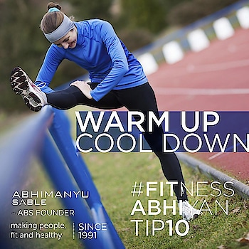 FITNESS ABHIYAN 2019.  TIP No 10 WARM UP and COOL DOWN  Before you start your activity just try to warmup a little bit. Warm up can be the same activity done in a very low intensity.  For example if you plan to run than start with a walk. If you plan to workout at home. Start with a spot jog for one minute.  The basic idea about warming up is preparing your body for the main activity. Warm up raises your body temperature and also the blood flow to the muscles. If you are going to do weight training. You should first do a small walk or a run and then stretch the muscles which you plan to work on.  Warm up will also help you to perform your main activity better.  Warmup types.  Spot jogging  Slow walking, cycling. Stretching the entire body (but don't stretch a cold body )  COOL DOWN  Benefits of Cooling down: Helps our heart rate and breathing to return towards resting levels gradually. Helps avoid fainting or dizziness, which can result from blood pooling in the large muscles of the legs when vigorous activity is stopped suddenly. Helps to remove lactic acid, which can build up during vigorous activity (lactic acid is most effectively removed by gentle exercise rather than stopping suddenly); and Helps prepare our muscles for the next exercise session, whether it's the next day or in a few days' time.  Cool Down types  Slow walk.  Stretch.  Best is Lie on your back and just keep your body relaxed and eyes closed. Enjoy at least 3 to 5 minutes.  LET 2019 be your FITTEST YEAR ever.  Abhimanyu Sable  Training Since -1991  #fitnessabhiyan19 #newyearresolution #fit2019 #absolutelyalive #committomove