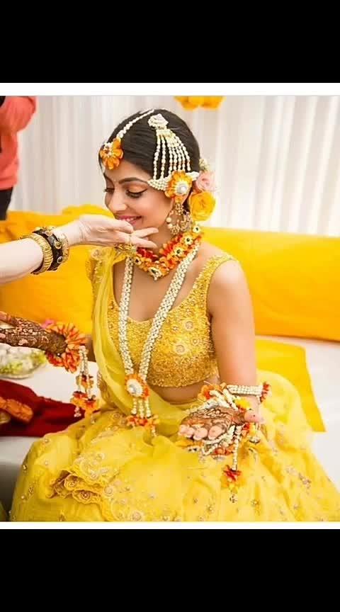 #haldiceremony WOW SHE LOOKING SOO BEAUTIFUL IN YELLOW DRESS, WT U THINK??❤ #haldiceremonyshoot #bridaldresses