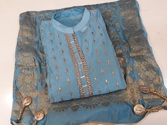 Chanderi silk self embrodied Bust 44 aprx Bottom cotton  Dupata banarsi silk..  WhatsApp 7309853065