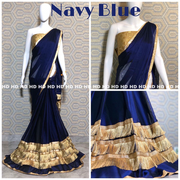 ***Different makes difference*** Rangoli Silk saree crafted with Ruffle style intricate lace work with Crocheted heavy brocade golden blouse piece Contact : 98254 42027 Price : 950/-+ship #bollywoodsaree #thebazaar #shoponline #sareeselfie