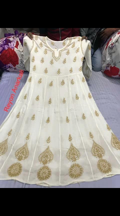 #ssks #₹1299WithFreeShipping #chikankari  Reyon Anarkali,  sizes 38 to 44,