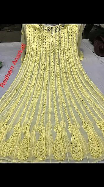 #ssks #₹16991699WithFreeShipping #chikankari  Georgette resham thread work anarkali,  sizes 38 to 44,