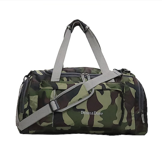 Dussledorf Polyester 40 Liters Military Color And Grey Travel Duffle Bag ₹899 Type : Duffel Bag Material : Polyester Ideal For : Men Compartments : 4 Width x Height : 27.5 Cm X 27.5 Cm