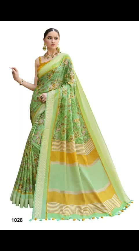 #pjs #₹1299WithFreeShipping#linensaree  Soft Linen Sarees With Fancy Blouse & Tussels On Pallu*