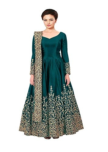 Queen of India Taffeta Silk Embroidered Semi-Stitched #Anarkali #Gown #dress @ Rs.849. Buy Now at http://bit.ly/2P8YrNO