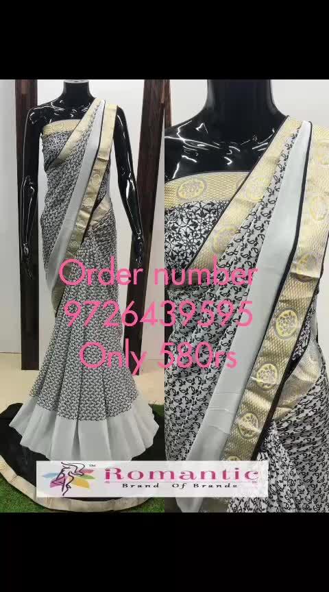 *N F. ™*BAEC book order 9726439595 Georgette printed saree with Banasri Border n Running Blouse 👚   #Price(₹) 580  💕💕💕💕💕💕💕💕💕💕💕💕