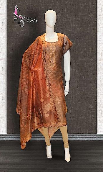 Brown Chanderi Straight Suit http://www.khojkaladesign.com/casual-wear-suits/brown-chanderi-straight-suit-17617.html   SKU: KHOJ0773 ₹2,410  #fashion #women #dupattasuits #instagood #love #womenstyle #salwarkameez #casualselfie #me #like #clothes #beautiful #indianwomenclothing #khojkala #casualsalwarkameez #salwarsuit