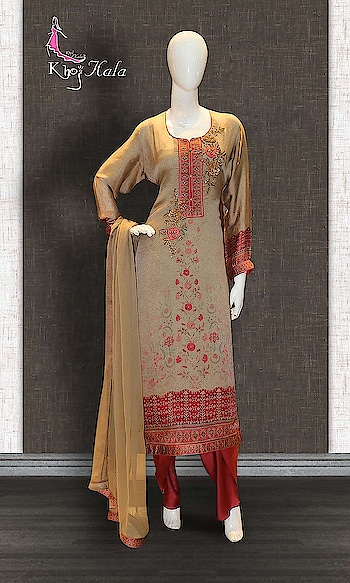 Brown Crepe Straight Suit http://www.khojkaladesign.com/casual-wear-suits/brown-crepe-straight-suit.html  SKU: KHOJ9148 ₹3,933 #fashion #women #dupattasuits #instagood #love #womenstyle #salwarkameez #casualselfie #me #like #clothes #beautiful #indianwomenclothing #khojkala #casualsalwarkameez #salwarsuit