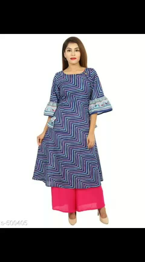 Airasta Printed Cotton Kurti Palazzo Set Vol 2  Fabric: Kurti - Cotton, Palazzo - Rayon / Cotton 