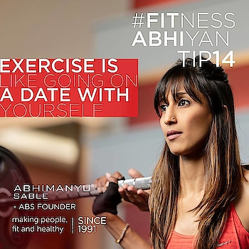 FITNESS ABHIYAN 2019.  TIP No 14 Exercising is like going on a DATE with YOURSELF  Happy Sankranthi to all of you. Many people still perceive exercise as effort, hard work,sweat, tiring and boring.  They will choose anything else over physical activity. This is only because they perceive it as punishment. They are not wrong. Our system is wrong. Even in school our punishments were running and squats and pushups.  So most are still carrying that exercise is like a punishment.  Let's stop thinking that way  Let exercise. ( it can be just a walk, run, swim, workout or play) be the most vibrant time of the entire day.  Do the following before your start.  1. Close your eyes just for a minute and visualise you are going to have a fantastic time exercising  2. Wear your best clothes. Dress every time as if you are going on a date.  3. Wear clothes that makes you feel good about yourself and not to hide that extra weight.  4. Wear nice comfortable, inspiring clothes for yourself.  5. Smell good. Feel good. 6. Feel as if your are going on a date with yourself.  7. Carry that smile all the way. No cursing and frowning during the entire time. Remember you are on a DATE.  Exercising should be a habit like brushing, bathing, eating which we never miss out on daily basis.  Look forward for it everyday.  And let this time be your best hour of the day. Because this is the only time you are spending on your self which will result in making you much more healthy and happy.  ENJOY DATING YOURSELF.  LET 2019 be your FITTEST YEAR ever.  Abhimanyu Sable  Training Since -1991 #fitnessabhiyan19 #ItsNotGymItsLife #newyearresolution #fit2019 #absolutelyalive #committomove