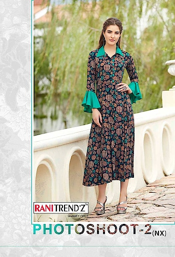Rani Trendz Photoshoot 2 Gown Type Rayon Kurtis Price Per Piece :- ₹440 + ₹22 (GST 5%) Minimum Order :- 8 Pcs. Fabric :- Original Rayon14kg plan+print Size :- L(40), XL(42), XXL(44) Upcoming Date:-28/01/2019 Product link :- https://castillofab.com/rani-trendz-photo-shoot-2-rayon-kurtis-wholesaler ———————————————————————————— Call/whatsapp :- +91 8530 23 23 30 Visit site for products :- https://castillofab.com——————————————————————————— #kurti #wholesalekurti #kurtidesign #womenkurti #kurta #newkurtidesign #kurtisonline #partywearkurtis #rayonkurti #latestkurti #brandedkurtis #kurtiwholesalesupplier #kurtiexporter #suratkurtis #IndianKurtis #castillofab