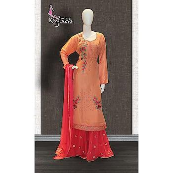 Orange Uppada Sharara Suit http://www.khojkaladesign.com/sharara/orange-uppada-sharara-suit-17608.html  SKU: KHOJ9134 ₹4,720   #fashion #women #dupattasuits #instagood #love #womenstyle   #salwarkameez #casualselfie #me #like #clothes #beautiful   #indianwomenclothing #khojkala #casualsalwarkameez   #salwarsuit