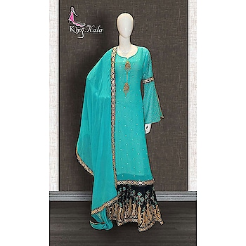 Blue Georgette Sharara Suit http://www.khojkaladesign.com/sharara/blue-georgette-sharara-suit.html   SKU: KHOJ2803 ₹7,398  #fashion #women #dupattasuits #instagood #love #womenstyle   #salwarkameez #casualselfie #me #like #clothes #beautiful   #indianwomenclothing #khojkala #casualsalwarkameez   #salwarsuit