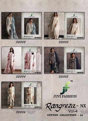Juvi Fashion Rangreza Vol 4 Nx Salwar Suits Online Shopping Price per Piece :- ₹899 + ₹45 (GST 5%) Minimum Order  :- 5 Pcs  Top :- CAMBRIC COTTON WITH SELF EMBROIDERY Bottom :- SEMI LAWN Dupatta :- NAZNEEN CHIFFON WITH HEAVY EMBROIDERY Upcoming Date:-30/01/2019 Product link :- https://castillofab.com/juvi-fashion-rangreza-vol-4-nx-cambric-cotton-suits -------------------------------------------------------- Call/whatsapp :- +91 8530 23 23 30 Visit our website :- www.castillofab.com -------------------------------------------------------- #salwarsuits #wholesale #latestsuits #salwarkameez #international #designersalwar #newlaunch #brandedsalwarsuits #suratcollection #indianstyle #weddingwear #bestrate #salwarsuitdesignes #salwarsuitmanufacturer #palazzo #cottonsuits #castillofab