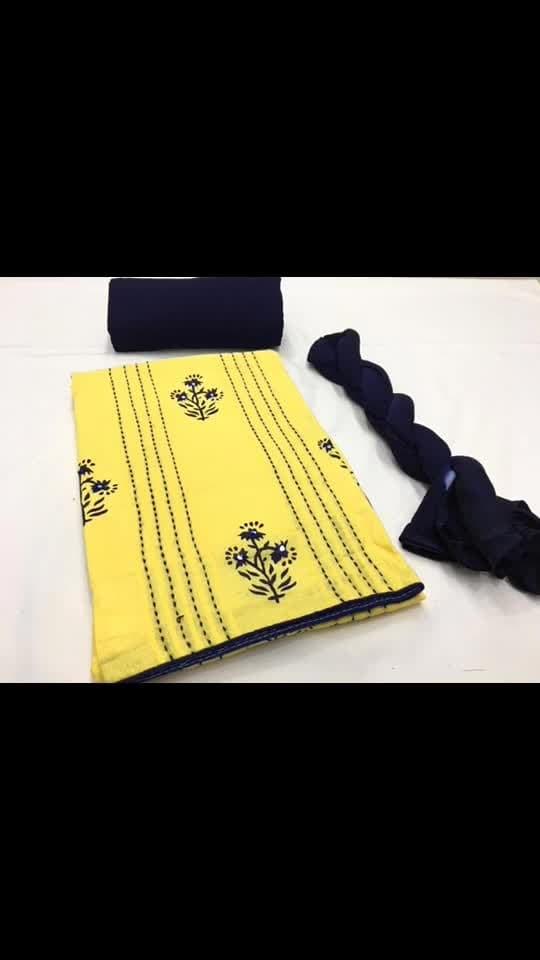 Rate:999/-  TOP* Cotton pintex block print handwork  *BOTTOM* cotton  *DUPP* Chiffon  Kf