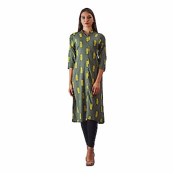 """Swabha Green Printed Aline Kurti for Women  Care Instructions: Handwash Model (height-5'8"""") is wearing size S. Material: Cotton Kurti   Color: Green Kurti Neck Type: Round Neck; Sleeve Type: 3/4 Sleeve Kurti Package Contents: 1 Printed Straight Kurti Colour Declaration : There might be slight variation in the actual color of the product due to different screen resolutions.  Buy Now :- https://amzn.to/2AYiQkh"""