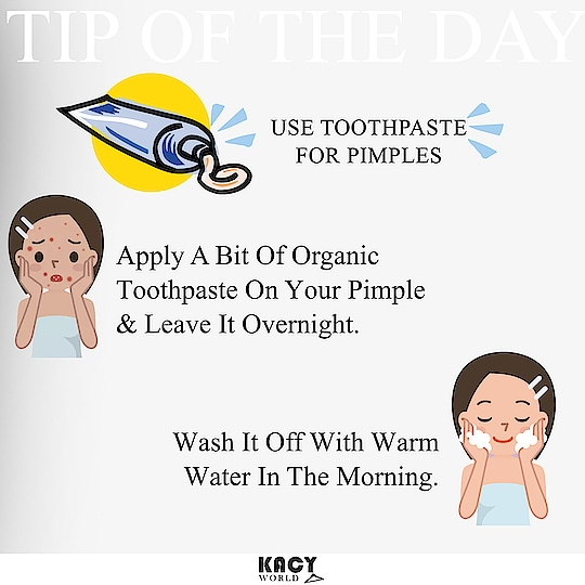 Did you Know you can use an ordinary Toothpaste to cure pimples🌟 How to: 1. Apply a bit if toothpaste to pimple. 2. Leave it overnight. 3. Wash it off with Lukewarm water in morning and Voila!!  The Pimple will be gone. This remedy is tried and tested so try it yourself and let us know your experiences in comments. Learn more at http://kacyworld.com/blog/ . . #kacy #kacyblog #pimples #skincare #acne #skincareroutine #beautybloggers